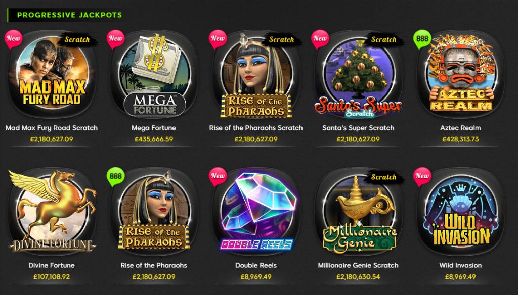 888 casino progressive jackpots