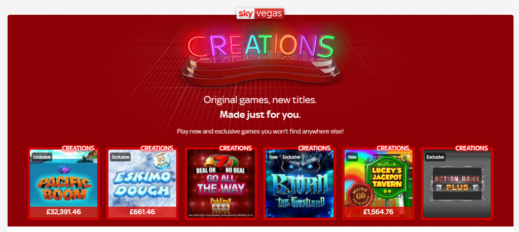 sky vegas creation slots